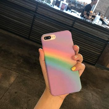 For iphone 6 Case Rainbow Hard PC Back Cover Cases Skin For iphone 6 6s 7 Plus Case Capa Fundas