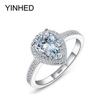 YINHED 100% Solid Silver Ring Jewelry Teardrop Zircon CZ Diamant Engagement Ring Women 925 Sterling Silver Wedding Rings ZR367
