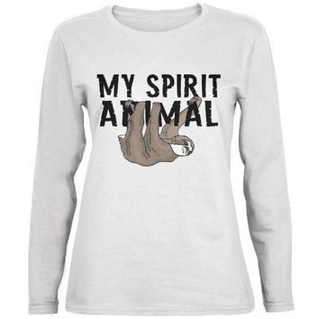 DCCKJY1 Sloth My Spirit Animal Ladies' Relaxed Jersey Long-Sleeve Tee