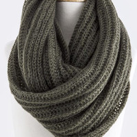 Olive Skinny Cable Knit Infinity Scarf
