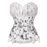 White Floral Bow Lace Overbust Corset  Shapewear