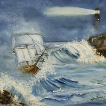 Ship in the Ocean Original  Oil Painting Seascape 16x20