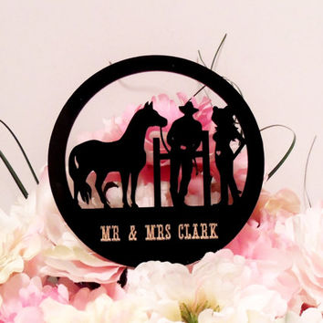 Personalized Western Couple Cake Topper