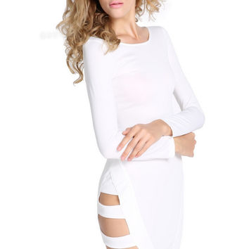White Womens Slim Long Sleeves Hollow Out Bandage Party Dress casuales femininos mujer casuales ropa grandes desigual beautiful Alternative Measures - Brides & Bridesmaids - Wedding, Bridal, Prom, Formal Gown