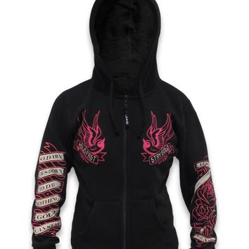Liquor brand Tattoo Inspired Stay Gold swallows, Coffin & Skull Black Hoodie