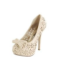 Styluxe Cabel Black Perforated Bow Detail Pumps and Womens Fashion Clothing & Shoes - Make Me Chic