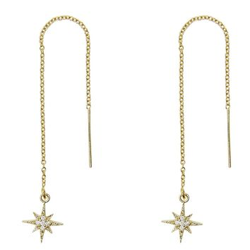 Pave CZ North Star Threader Earrings