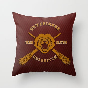 Harry potter Gryffindor quidditch team Throw Pillow case by Three Second
