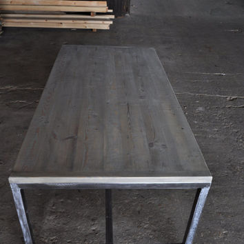 Industrial Dining Table. Hand made of Reclaimed Pine - Sleek Steel and Wood