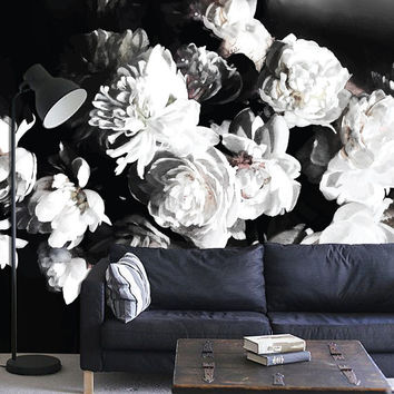 "Dark Floral Mural, Floral Wallpaper, Still Life Flowers Painting - 108"" x 68"""