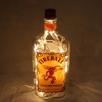 Liquor Bottle Light, Upcycled Fireball Liquor Bottle, Decor for Mancave, Bar Lighting