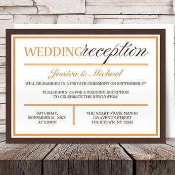 Orange Brown Reception Only Invitations - Modern Autumn design - Post-Wedding Reception - Printed Invitations