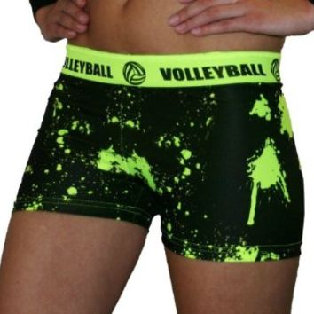 "SV Forza Women's Volleyball Printed Compression Shorts, 2.5"" Extra Small (Neon Yellow Print)"