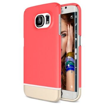 Galaxy S6 Edge Case, Maxboost [Vibrance Series] Samsung Galaxy S6 Edge Case Protective SOFT-Interior Scratch Protection Hard Cases - Italian Rose / Champagne Gold