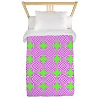 Mod pink green circle pattern Twin Duvet