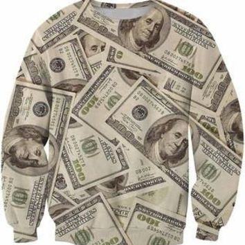 Hundred Dollar Bill Money Collage All Over Full Print 3D Diy Sublimated Polyester Blend Unisex Crew Neck Sweatshirt
