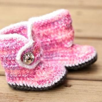 Crochet Baby Booties - Baby Boots - Pink Purple White Baby Shoes Grey Bling - Bling Ba