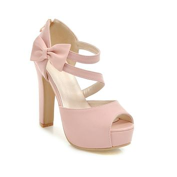 Cross Strap Bow High Heels Platform Sandals Summer Shoes 5908