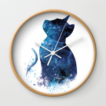 Blue Cat Wall Clock by monnprint
