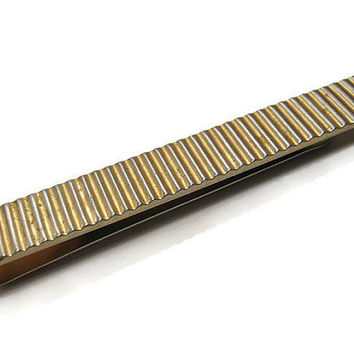 Swank Vintage Tie Bar Clip Clasp Holder Gold Tone with Lines Mid Century Hipster Retro Mens Formal Jewelry