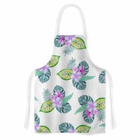 "Sylvia Cook ""Tropical Flowers"" Green Pink Floral Nature Watercolor Digital Artistic Apron"