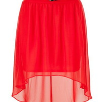 Belted High-Low Hem Chiffon Skirt