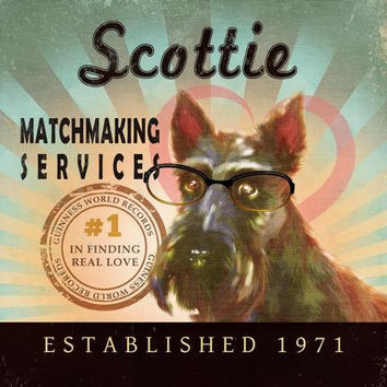 Valentine's Day Gift For Singles - Scottish Terrier - Scottie - Matchmaking Services - 12X12 Modern Vintage Giclee Print  - LHA-296-44