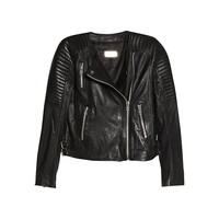 Buy Mango Quilted Leather Jacket, Black | John Lewis