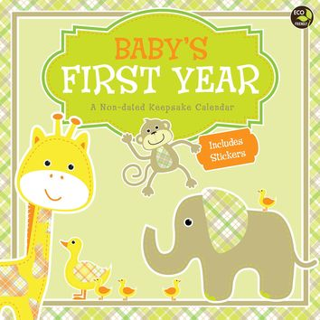 Baby's First Year Plaid Wall Calendar