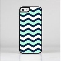 The Teal & Blue Wide Chevron Pattern Skin-Sert Case for the Apple iPhone 5c