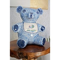 Vintage Spongeware  Teddy Bear Cookie Jar