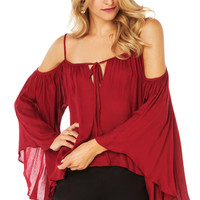 Wine Red Chiffon Spaghetti Strap Off Shoulder Flared Sleeve Shirt