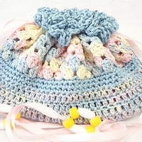 hand crocheted, baby doll, church purse, cradle purse, quiet book, blue pastels, birthday BG23