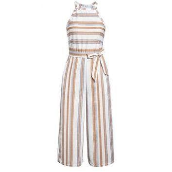 Casual striped long women's jumpsuit rompers Summer sleeveless overalls