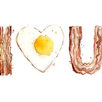 Bacon and Egg LOVE Art Print of Watercolor Painting, Funny Illustration