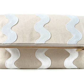 Neutral Canvas Clutch With White Waves by IndependentReign on Etsy
