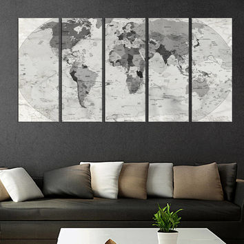 Large wall art Push pin world map framed canvas art gray, map for travellers, large world map with country name, travel map, map poster Qn55
