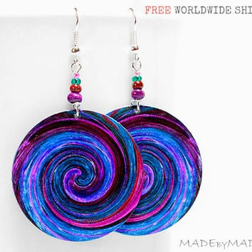 SALE Blue & Purple Swirl  Earrings  Free  Shipping dangle Round decoupage 2-sided Jewelry diameter 4cm (1,57 inch) ,  gift for her under 25