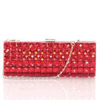 Women's Studded Shimmer Prom Evening Clutch with Metal Chain Strap