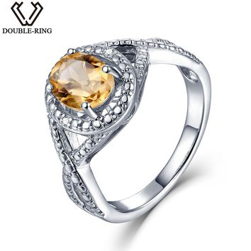 DOUBLE-R Natural Diamond  1.2ct Oval Real Citrine 925 Sterling Silver Ring Diamond Gemstone Jewelry  Embroidery