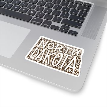 North Dakota State Shape Sticker Decal - Brown
