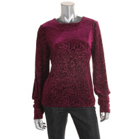 Lauren Ralph Lauren Womens Velveteen Long Sleeves Pullover Top