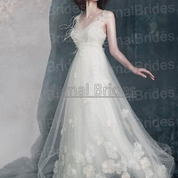 V-neckline Wide Straps with Flowers Feather Beaded  Empire WaistTulle Prom Dress/ Beach Wedding Dress/ white/ Red/ Ivory