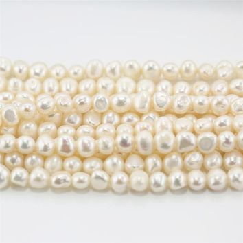 SNH 5strands /pack baroque AA grade Free Shipping DIY Necklace Bracelat Jewelry Making 8mm  Natural Freshwater Pearl Loose