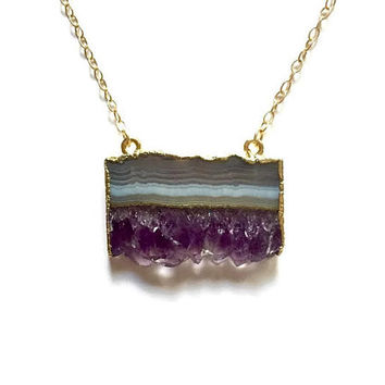 14k Gold Filled Rough Amethyst Slice Pendant Necklace. Purple Violet Natural Raw Druzy Gemstone. Gift for Her