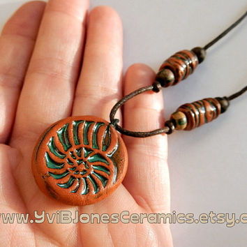 Bohemian Pottery Shell Necklace, Earthy Ceramic Beach Jewelry, Boho terracotta pendant necklace, Adjustable