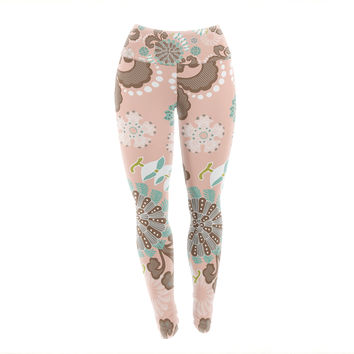 "Very Sarie ""Sea Carnival"" Pink Teal Yoga Leggings"