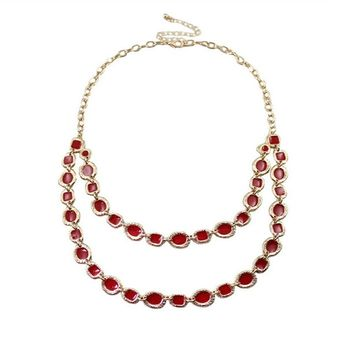 Womens Simple Red Hand Cut  Multilayer Short Necklace
