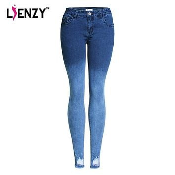 LIENZY Autumn Casual Women Gradient Jeans Ripped Hollow Out Slim Skinny Light Blue Women Denim Jeans Pencil Trousers 90% Cotton