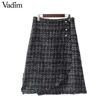 Vadim retro beading pearl plaid midi skirts side split zipper vintage chic female autumn fashion skirt faldas mujer BSQ632